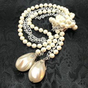 Sarah Cov Faux Pearls & Chain Link Necklace